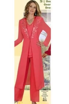 V-vratu Hlače obleka Dolgimi rokavi Poroka Mati obleko s hlačami