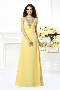 Brez zadnjega dela Naravni pasu Elegantna Poletje Prom Obleko