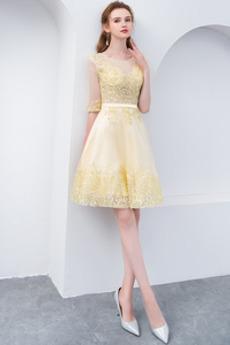 Dolžina kolena Široko plitvo izrez Prekrivni čipke Cocktail obleko