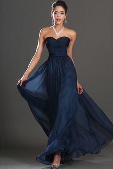 Imperij Dolga Šifon Elegantno Temno mornarica Večerne obleko