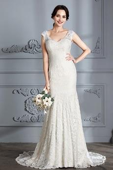 Čipke Zadrgo V-vratu Dolga Srednje Elegantno Naravni pasu Poročne obleko