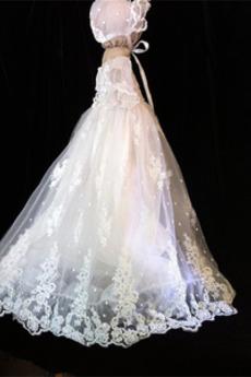 Balon rokavi Dolg Formalno počitnice Tila Princesa Krst Obleko