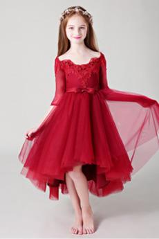 Visoka nizka Gugalnica Elegantno Asimetrični Cvet dekle obleko