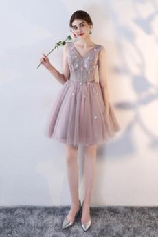 Tila Ball vezavo Cvetje Naravni pasu Srednje Skratka Družica obleko