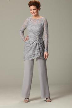 Peščena ura Naravni pasu Formalno Široko plitvo izrez Mati obleko s hlačami