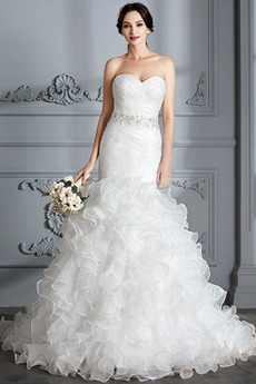 Ljubica Draped Morska deklica Elegantno Srednje Poročne obleko