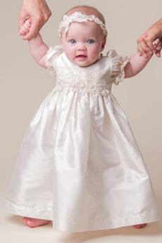 Dragulj Kratkimi rokavi Satin Naguban Petite Skromen Otroka obleko