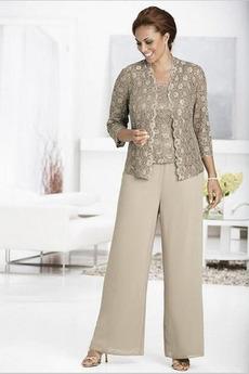 Poroka Elegantna Square Naravni pasu Tri četrtine rokavi Mati obleko s hlačami