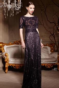 Pol rokavi Elegantno Paillette Dolžina tal Bleščicami Obleko