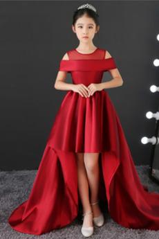 Visoka nizka Zadrgo navzgor Naravni pasu Omejen rokavi Cvet dekle obleko