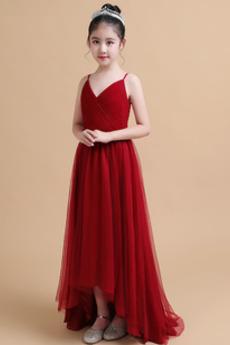 Naravni pasu Srednje Asimetrični Draped Špagete trakovi Cvet dekle obleko