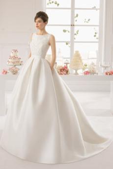 Princesa Pomlad Naravni pasu Dolga Brez rokavov Poročne obleko