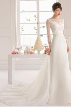 Princesa Dolga Svilena vrstica Tri četrtine rokavi Poročne obleko