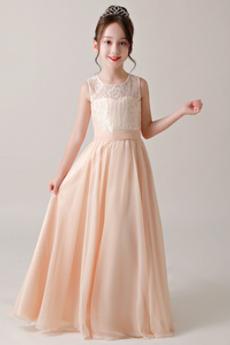 Dragulj Srednje Pomlad Naravni pasu Prekrivni čipke Deklica obleko