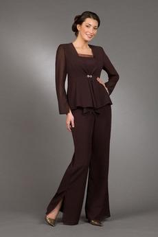Šifon Square Peščena ura Naravni pasu T-majica Mati obleko s hlačami