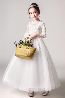 Dolgimi rokavi T-majica Dragulj A Vrstica Zadrgo navzgor Cvet dekle obleko