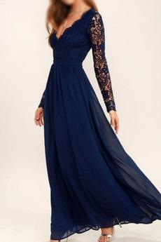 Čipke V-vratu Elegantna Naguban steznik Gleženj dolžina Djeveruša Obleko