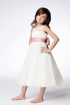 Tila Naravni pasu Formalno Dolžina čaj Dragulj Cvet dekle obleko