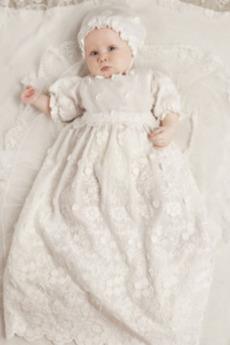 počitnice Čipke Balon rokavi Princesa Dolga Naravni pasu Krst Obleko