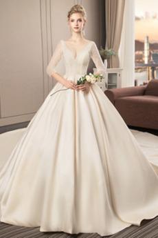 vezavo A Vrstica Skromen Elegantno Tri četrtine rokavi Poročne obleko
