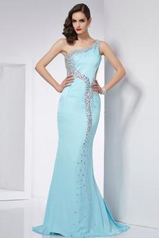 Glamurozno Koralda Dolg Srednje Šifon Pomlad Brez rokavov Prom Obleko