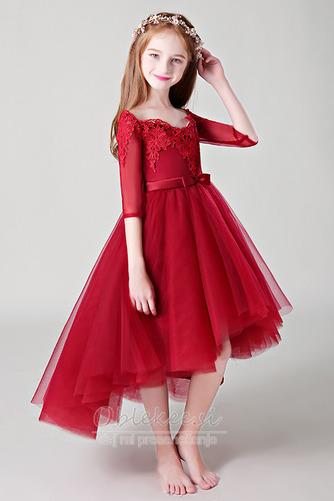 Visoka nizka Gugalnica Elegantno Asimetrični Cvet dekle obleko - Stran 3